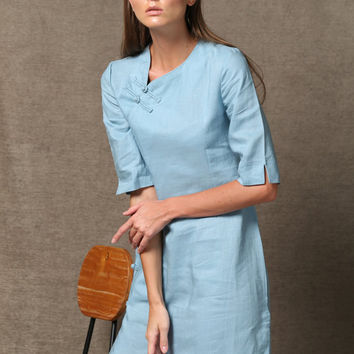Blue Linen Midi Dress Oriental Cheongsam With Pankou C544