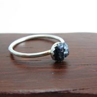 Sterling Silver Black Mother of Pearl Stacking Ring Silver Stacking Ring Black and Silver Ring Size 6 Stacking Ring