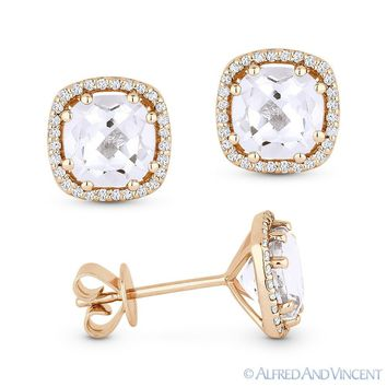 2.86ct Cushion Cut White Topaz & Round Diamond 14k Rose Gold Halo Stud Earrings