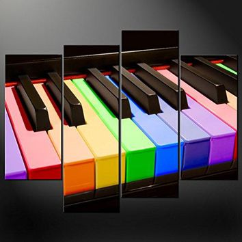 Canvas Print Wall Art PaintingsClose-Up Of Corlorful Piano Keys 4 Pieces Panel