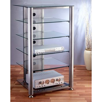 RGR Series 6 Shelf Audio Rack Multiple Finishes Glass Shelves