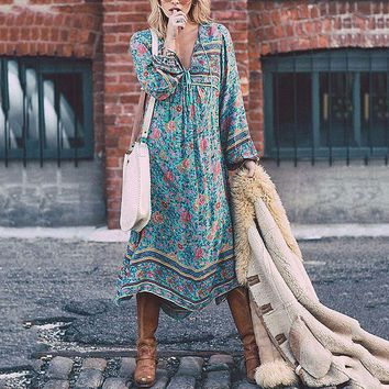 S-5XL Women Boho Chiffon Maxi Long Dress Vintage Long Sleeve Tie V Neck Loose Baggy Casual Beach Ladies Floral Sundress Skater