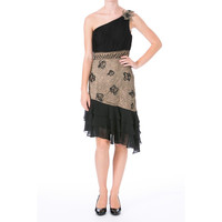 Sue Wong Womens Embellished One Shoulder Cocktail Dress