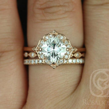 Lily 7mm, Ult Pte Leah, & Pernella 14kt Rose Gold Cushion FB Moissanite and Diamond Kite Halo TRIO Wedding Set (Other metal/stone available)