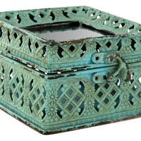Turquoise Iron Jewel Box with Mirror Top   Shop Hobby Lobby