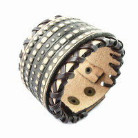 Fashion Punk  Adjustable Leather Wristband Cuff Bracelet - Great for Men, Women, Teens, Boys, Girls 2711s