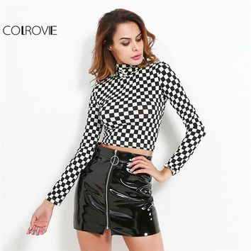 COLROVIE Plaid Crop Knit Tee 2018 Checkered High Neck Long Sleeve Slim T-shirt Women Sexy Party Wear Autumn T-shirt