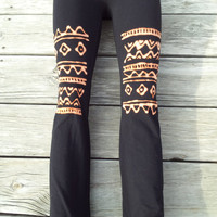 Aztec Print /Tribal Print Black Yoga Pants One Size Fits Most