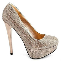 Sin-01 Champagne Glitter Lurex Round toe Platform Pump Stiletto Heel - Cutesy Originals