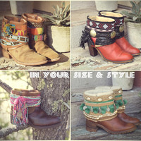 Your Size Vintage Boots Southwestern Cowboy Boots Native Tribal Gypsy Festival Boots Custom Made To Order