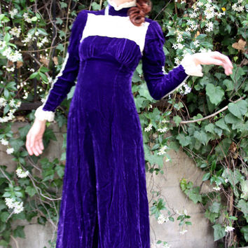 Purple Velvet Maxi Dress - Vintage Size Small - Victorian Style, Cosplay, Renaissance Fair Costume - Long Sleeves, White Floral Lace