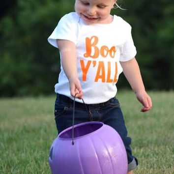 Boo yall, happy fall yall, first Halloween, trick or treating, happy Halloween, ghost boo costume, infant ghost costume, funny ghost, spooky