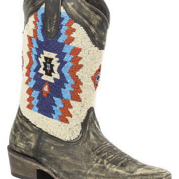 Roper Ladies Fashion Snip Toe Boots Southwest Beaded Shaft Snip Toe