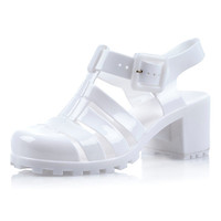 River Island Girls white jelly block heel sandals