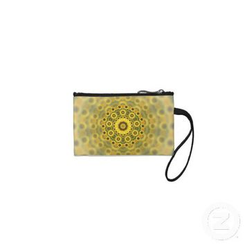 Hippy Sunflower Fractal Mandala Pattern Coin Wallets from Zazzle.com