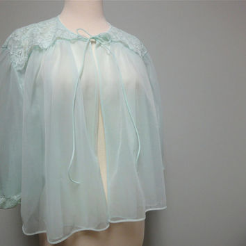 Vintage 1950s Vanity Fair Aqua Chiffon Bed Jacket, Shortie Robe