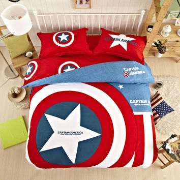 Cartoon 3/4pcs bedding set king queen twin size duvet cover set cotton Printed captain america quilt cover bedsheet pillowcase