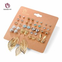 DANZE Punk 20 Pairs Pack Set Brincos Mixed Stud Earrings For Women Crystal Ear Studs Fashion Simulated Pearl Jewelry