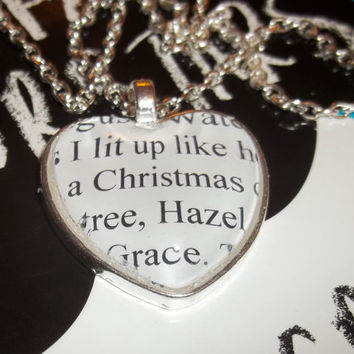 The Fault in Our Stars, by John Green, Literary Quote Book Pendant Necklace, ''I lit up like a Christmas tree, Hazel Grace''