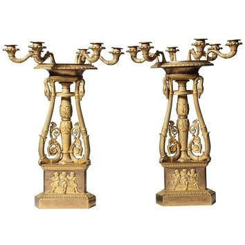 Unusual Pair of Empire Ormolu Six-Light Candelabra, Signed Thomire A Paris