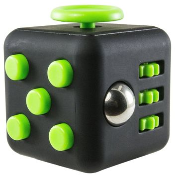 Fidget Box Focus Attention Cube - Desk Anxiety Stress Relief Hand Toy for Kids & Adults - Black/Green