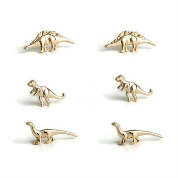 Dinosaur Earrings, Dinosaur Stud Earrings, 24k Gold Dinosaur Stud earrings, Gold over Fine Silver, Stud Earrings, Tiny Earrings