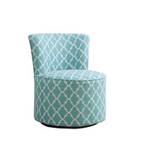"Light Blue "" Lantern "" Fabric Accent Chair / Swivel Base"