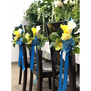 Tropical flower arrangement Pew Aisle seat lantern bouquets centerpiece -turquoise green orchid calla lily greenery