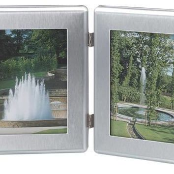 Free Engraved Personalized Brush Finish Double Silver Picture Frame