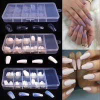Fashion 100Pcs/Box DIY Nail Art Trendy Full Nail Tips Ballerina Nails French False Nails Slender Elegant 10 Sizes Nail Tools