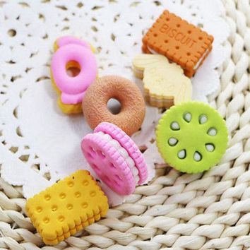 DCCKL72 1 Pcs Kawaii Cute Square Round Biscuit Donut Rubber Erasers Kids School Supplies Stationery pencil Eraser