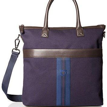 Salvatore Ferragamo Men's Manderson Striped Logo Tote Bag Navy