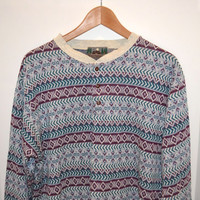 Vintage 90's Fair Isle Patterned Long Sleeve Henley Shirt - Men's Large