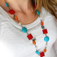 Chunky Red Necklace, Long Beaded Necklace, Turquoise Necklace, Long Chunky Necklace, Statement Necklace, Turquoise Red, Chunky Beads