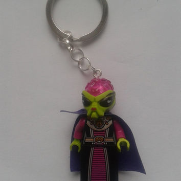 Alien villainess  minifigure keychain keyring  made with LEGO®  bricks
