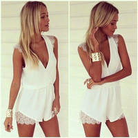 Stylish Deep V Sleeveless Lace Jumpsuit [4966208964]