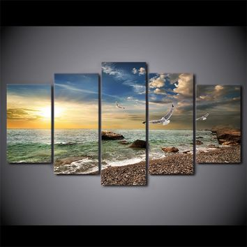 5 Panel Ocean Gulf Beach and Surf at Sunset Wall Art on Canvas Print Picture