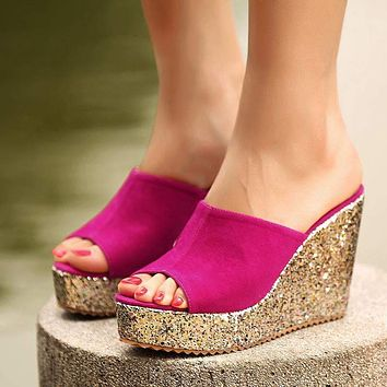 gold metallic sandals heels suede women slippers platform wedge shoes summer wedges