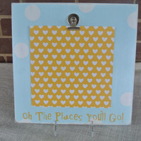 oh the places you'll go inspirational frame graduation gift blue and white polka dot wooden handpainted wooden sign frame