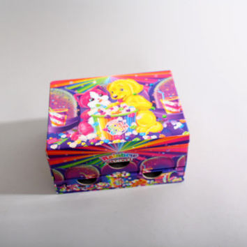 90s Vintage Lisa Frank Puppy Kitten Jewelry Trinket Box