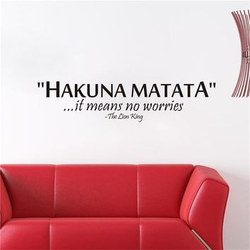 Hakuna Matata it means no worries inspiring quotes vinyl wall decal stickers home decoration adesivo de parede Poster Mural