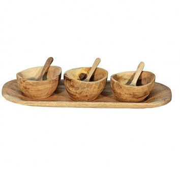 Montes Doggett 3 Bowls, Tray and Spoons