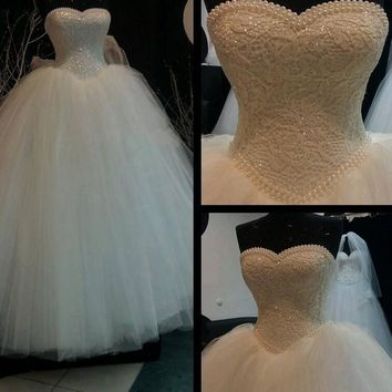 2017 White Ivory Lace Strapless Wedding dresses Corset Bodice Sheer Bridal Ball Pearl Beads Tulle Wedding Gowns size 2-22W