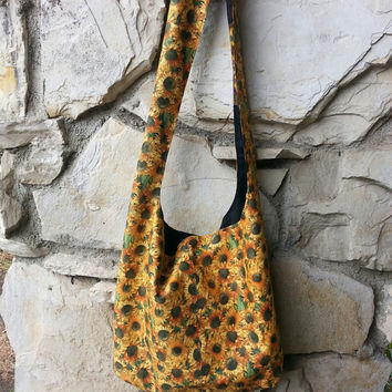 Sunflower Hobo Bag, boho bag, Bohemian bag, hipster bag,  Reversible, across the body bag, slouch bag, handbag.