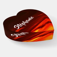 Red Sky Abstract Heart Glass Paperweight