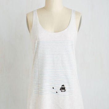 Scholastic Mid-length Sleeveless Drawn to the Sea Top
