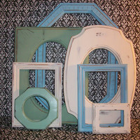 Set of 7 Beach Themed Picture Frames Green Blue Warm White