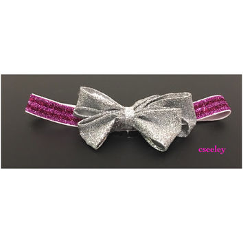 Sparkly pink and purple with silver glitter headband. Premies, newborn, all ages.