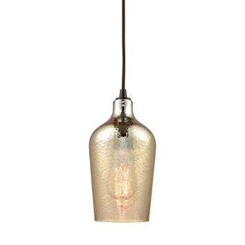 Hammered Glass 1 Light Pendant In Oil Rubbed Bronze With Hammered Amber Plated Glass