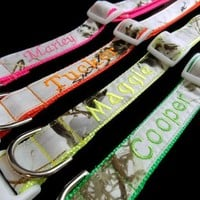 Personalized Snow Camo Dog Collar made with Realtree Fabric